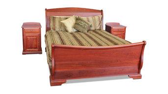 Leederville Jarrah Sleigh Bed & Side Chests