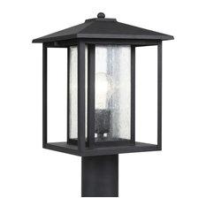 Hunnington One Light Outdoor Post Lantern Black Clear Seeded Glass