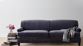 The Carmine Sofa in Flannel Velvet and Coffee finish