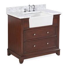 Sophie 36-inch Bathroom Vanity Carrara/Chocolate Top: Carrara Marble