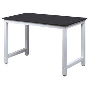 Modern Square Desk Table, MDF With Steel Metal Frame, Simple Design, Black