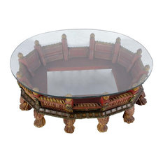 Favors Handicraft Low Profile Pea Carved Wooden Painted Oval Coffee Table Tables