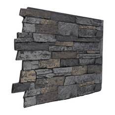 Wide Stacked Stone Wall Panel  - Midnight