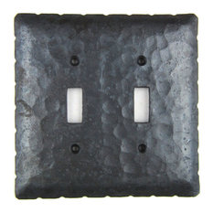 Rustic Rancho Style Iron Switch Plate Cover Double Toggle  EPH44, Black