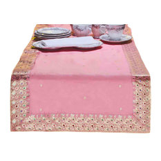 Pink - Hand Crafted Table Runner (India) - 14 X 84 Inches