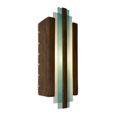 Empire Wall Sconce, Butternut and Turquoise, Bulb Type: E12