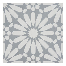"8""x8"" Alhambra Handmade Cement Tile, White/Gray, Set of 12"