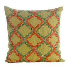 "The HomeCentric - Lattice Trellis Green Cotton Linen 20""x20"" Pillow Covers, Orange Geometry - Decorative Pillows"