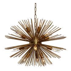 Sunburst 12-Light Brass Chandelier
