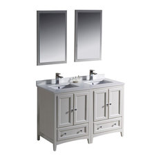 Fresca Oxford Traditional Double Sink Vanity With Mirrors, Antique White, 48""