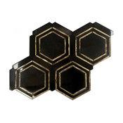 "Gyre 4.44""x4.82"" Marble Mosaic Tile, Black/Gold"