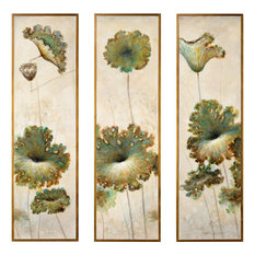WILDWOOD HOME Oil Painting Gold Frame Set 3 Canvas
