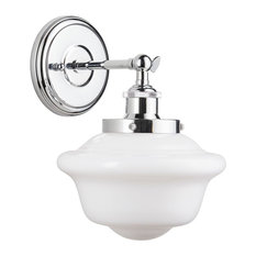 Lavagna 1 Light Schoolhouse Wall Sconce with Milk Glass, Polished Chrome