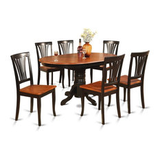 7-Piece Dining Room Set-Oval Table With Leaf And 6 Dining Chairs.