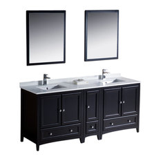 "Oxford 72"" Espresso Double Sink Vanity, Side Cabin Fortore Chrome Faucet"
