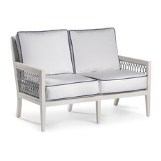 ECHO BAY Loveseat, White/Light Gray, Canvas Ginkgo