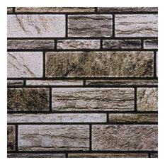 "3D Bricks Peel & Stick Wall Tiles, 11.8""x11.8"", Beige, 6 Pieces"