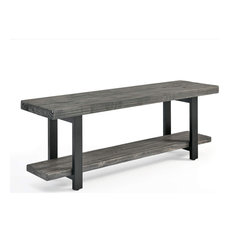 Rustic Dining Bench Metal Legs With Slate Grey Top And Bottom Shelf