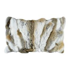 Heavy Petting Genuine Rabbit Fur Lumbar Pillow in Grey and White