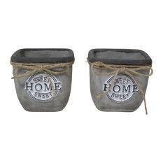 """Home Sweet Home"" Concrete Square Pot Planter, Set of 2"