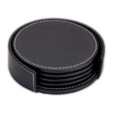 A1245 Rustic Black Leather Coaster Set With Holder