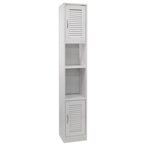 Louvre Tall Louvre Door Bathroom Cabinet With Shelves, White