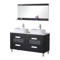 "Francesca 55"" Double Sink Vanity Set, Espresso"