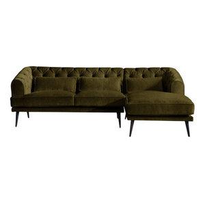 Earl Grey Chaise Sofa, Peridot, 3 Seater, Right Hand Facing