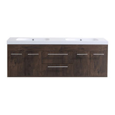"Lugano 60"" Rosewood Modern Bathroom Vanity Wall Mount With 2 Sink"