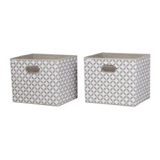 South Shore Storit Patterned Fabric Storage Baskets, Set of 2