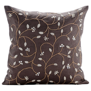Brown Cotton Linen 50x50 Beaded Leaves Garden Cushions Cover, Pearl Aroma