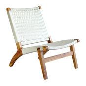 Woven Lounge Chair, White, Teak