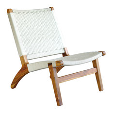 Woven Lounge Chair, White, Teak