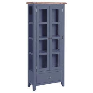 2-Door Glazed Display Cabinet, Dark Grey
