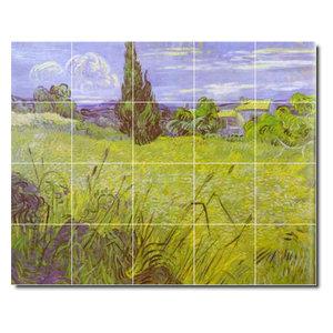 Rikki Knight Van Gogh Art Cornfield with Cyprusses Design Ceramic Art Tile 8 x 8