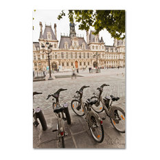 """Paris Deux - City Hall Bicycles"" Canvas Art by Yale Gurney, 22""x32"""