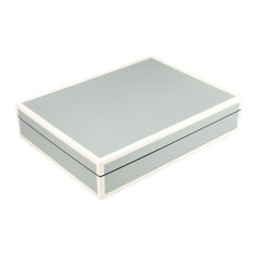 Lacquer Box, Cool Gray and White, Long Stationery