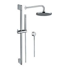 Chrome Shower System With Hand Shower, Sliding Rail, Showerhead, and Water Conne