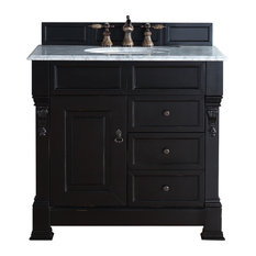 "Brookfield 36"" Antique Black Single Vanity With Drawers, Carrara White Top"