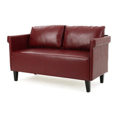 gdfstudio harbison leather loveseat settee red loveseats