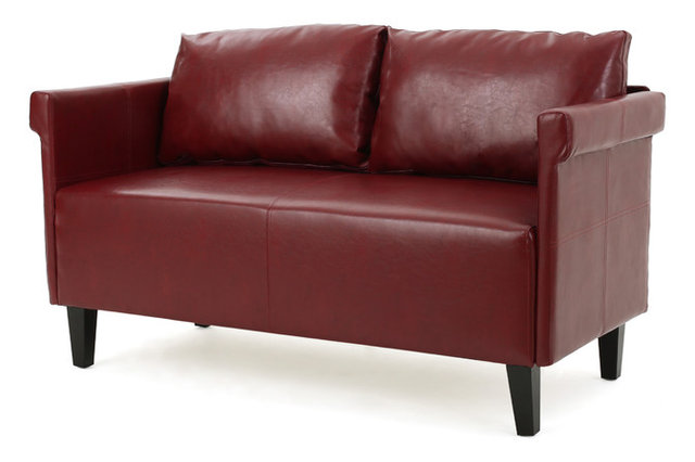 Harbison Leather Loveseat Settee, Red