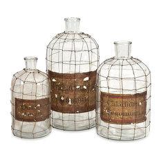 Dimora Wire Caged Bottles, 3-Piece Set