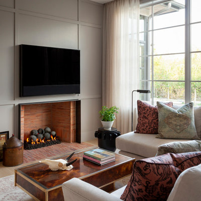 Example of a transitional home theater design in Austin