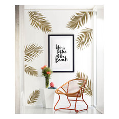 Palm Leaves Wall Decal, Gold Metallic