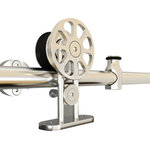 Custom Service Hardware - Top-Mount, Spoke Wheel European Style Rolling Door Hardware - This stainless steel rolling barn door hardware will provide durability and sophistication to your rolling door with a more modern look.