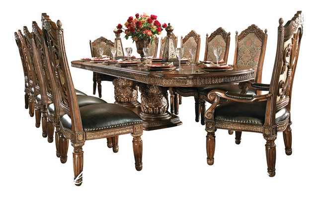 8 Piece Villa Valencia Dining Room Table Set With China