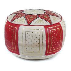 Golden Fez Stuffed Pouf, Red, Round Shape