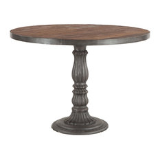Reclaimed Teak and Cast Iron Round Dining Table