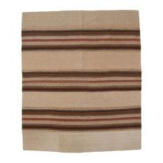Kelim Stripe Handwoven Rug, Brown and Sand, 175x210 cm