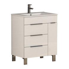 "Geminis Modern Bathroom Vanity With Integrated Sink, White, 28"""